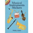 Musical Instruments Stickers - 16 sticker images of popular musical instruments: trumpet, tuba, drum, tambourine, electric guitar, classical harp, and more